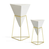 Trigg Tabletop Vase Set- White and Brass