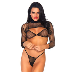 Leg Avenue Net Top, Thong And Bra UK 814