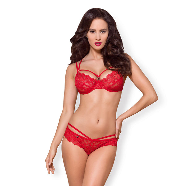 Red Lace Bra And GString