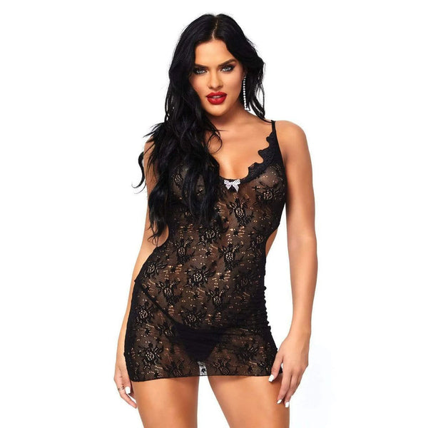 Leg Avenue Boudoir Rose Lace Mini Dress UK 8 To 14