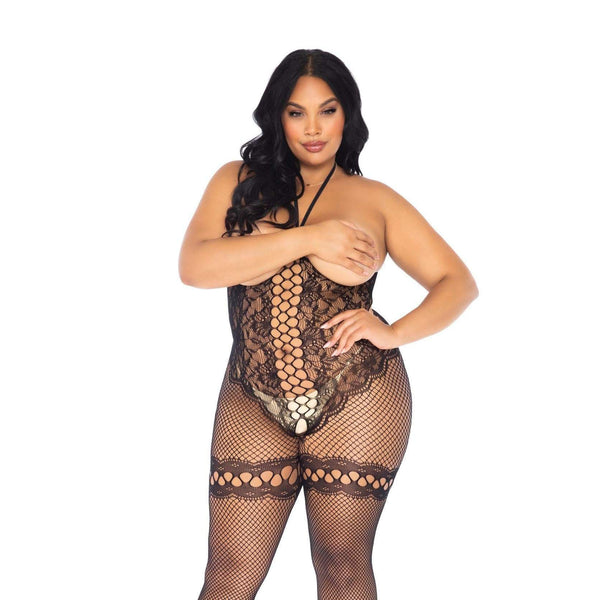 Leg Avenue Cupless Halter Bodystocking UK 18 to 22