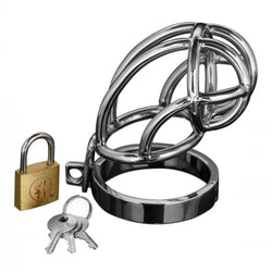 Captus Stainless Steel Locking Chastity Cage - Whopii Sex Toys