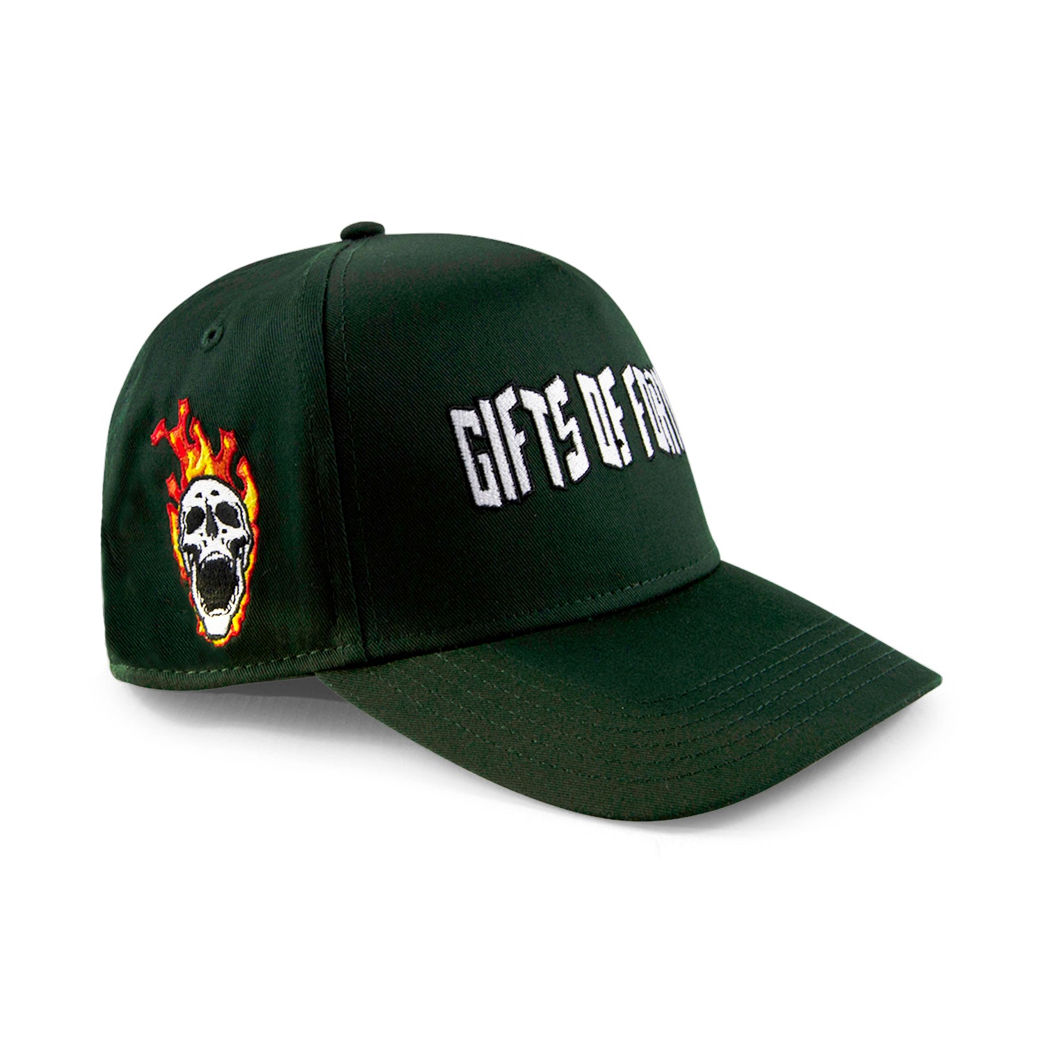 Forest Green Flamming Skull Trucker