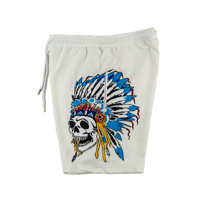 Indian Warrior Sweatshorts White