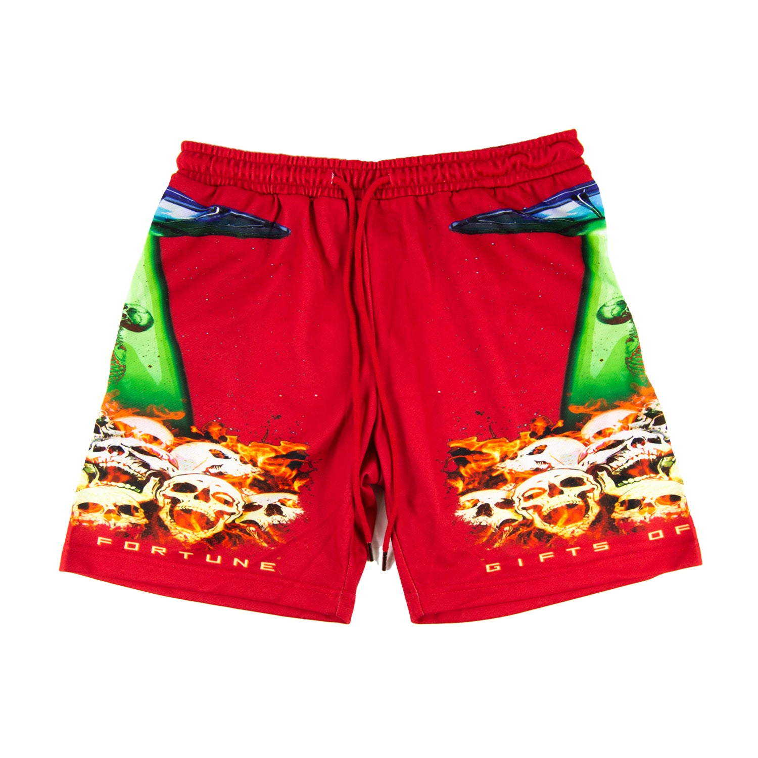 Red Fire, Skulls, & Spaceships sweatshorts