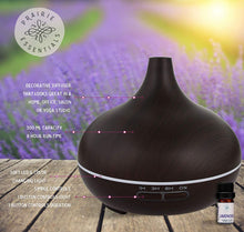 Dark Wood Grain 300ml Essential Oils Diffuser with 5ml Bottle of Lavender