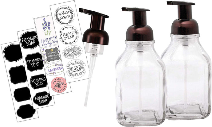 Foaming Soap Dispenser Pump 16 oz Glass Bottle 2 Pack with Custom Soap and Chalk Stickers and Extra Pump - Rubbed Bronze