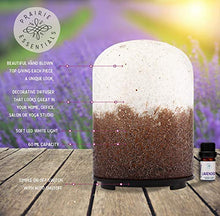 Hand Blown Brown & White Glass Cylinder Essential Oils Diffuser, 60ml, with 5ml Bottle of Lavender
