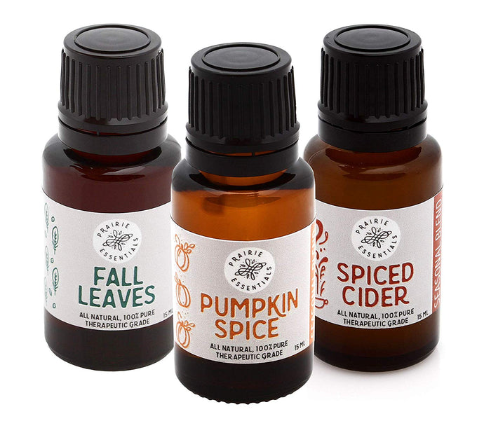 Autumn Comforts Essential Oil Blends Set - Pumpkin Spice, Fall Leaves and Spiced Cider