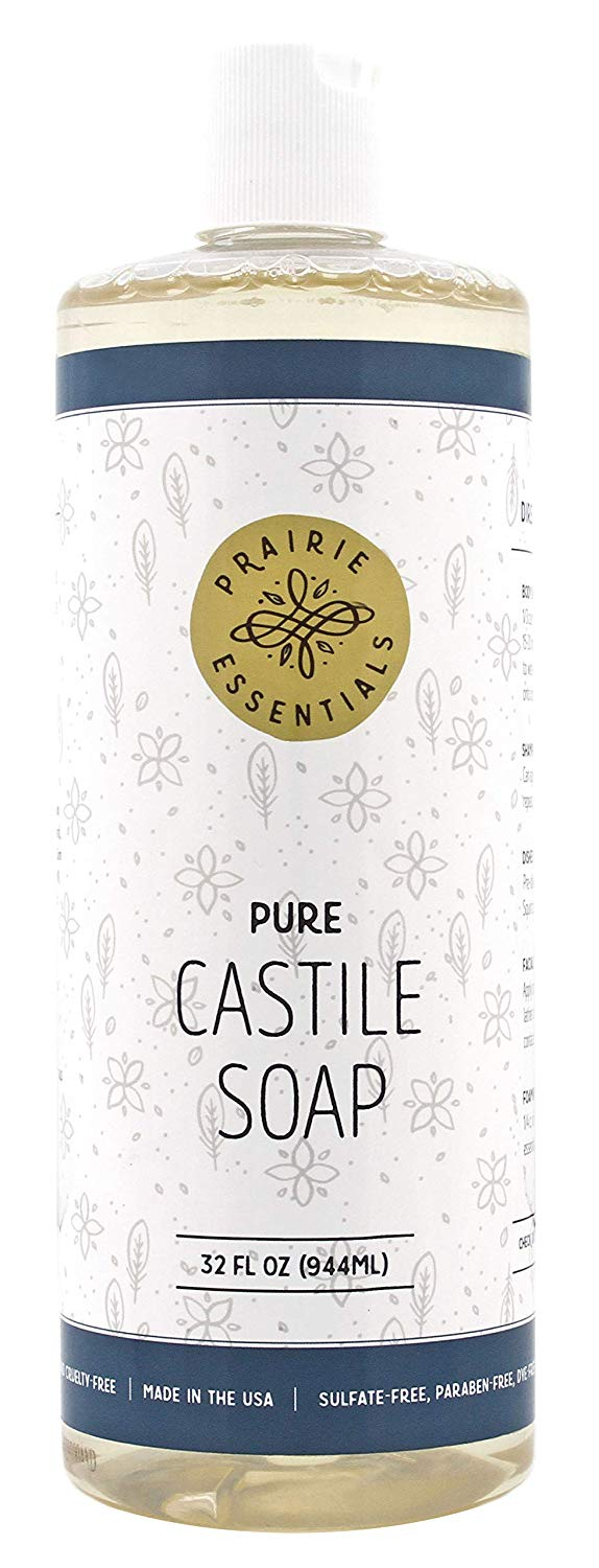 Prairie Essentials Castile Soap Liquid Unscented 32oz Bottle - Sulfate, Paraben, Cruelty and Dye Free