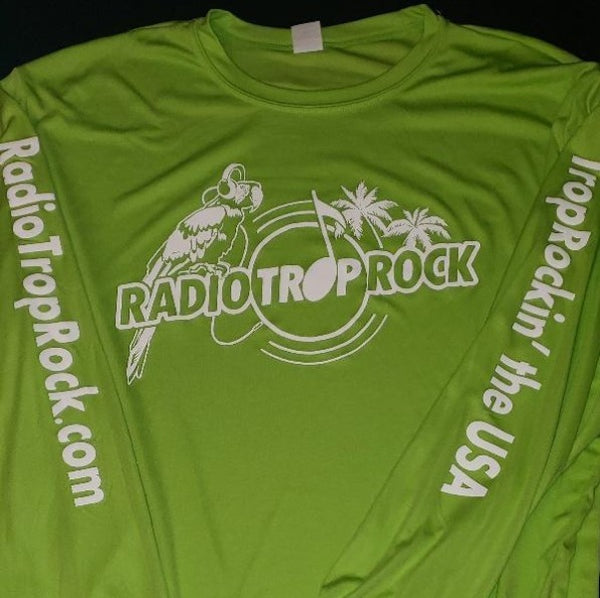 Radio Trop Rock Mens Long Sleeve moisture-wicking tee - Lime Shock