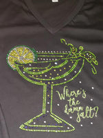 Margarita Glass -Where's the damn salt? Bling Shirt