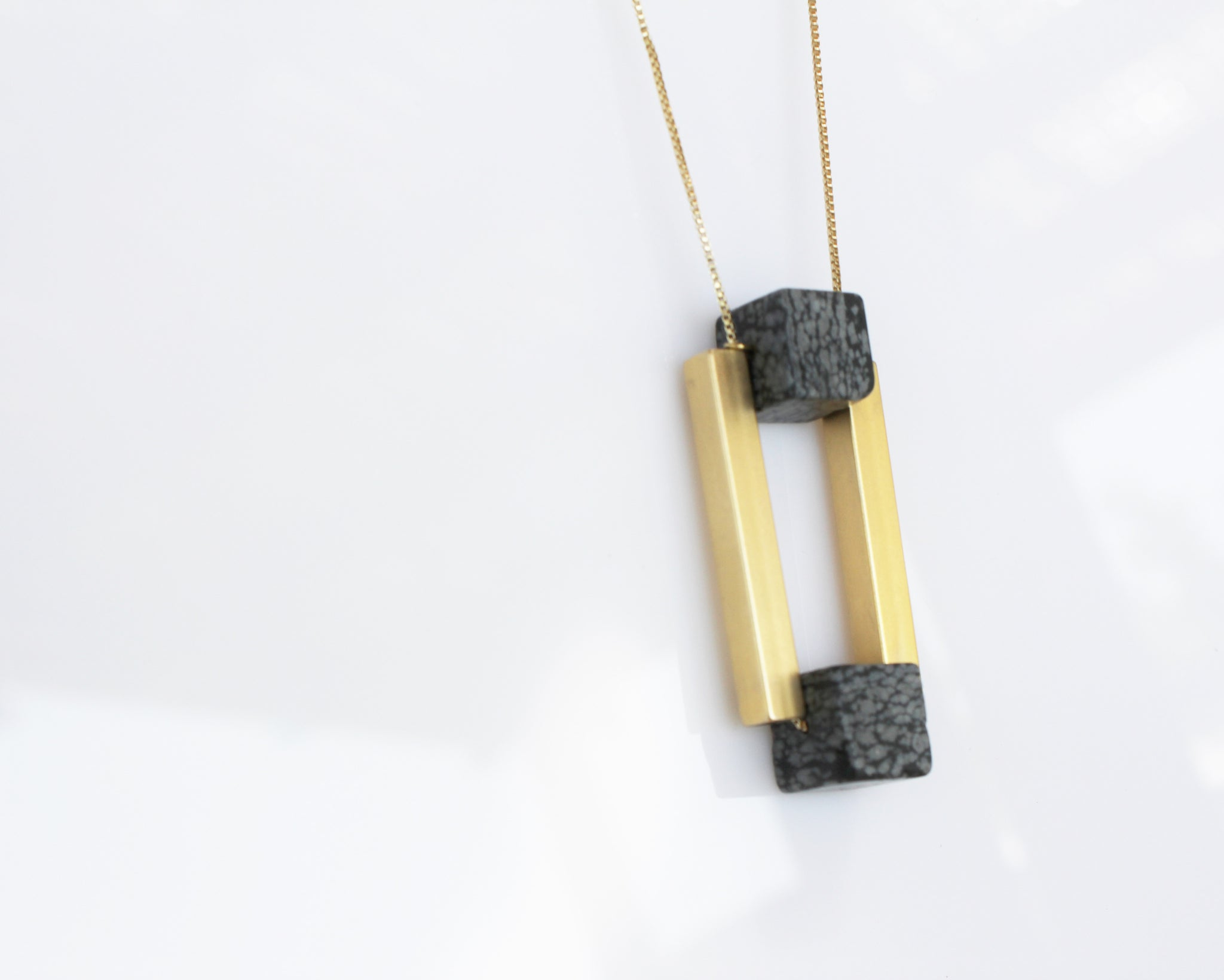 Obsidian cubes Necklace