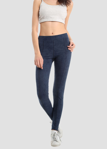 Leggings with velvet look in organic cotton