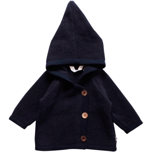 Elf hooded jacket for baby in organic merino wool