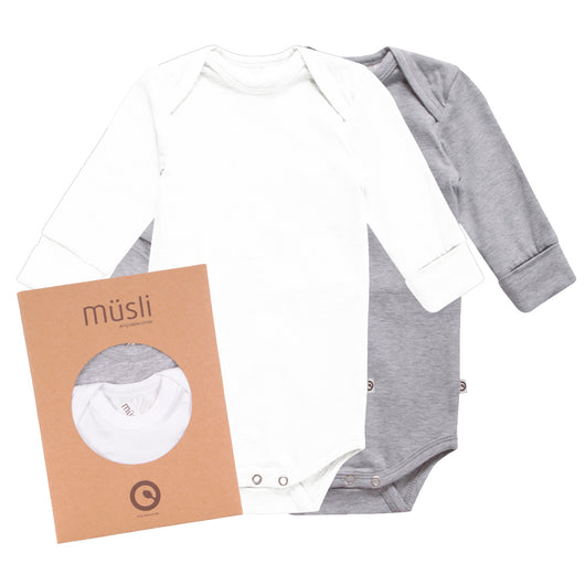Two-pack organic baby bodies