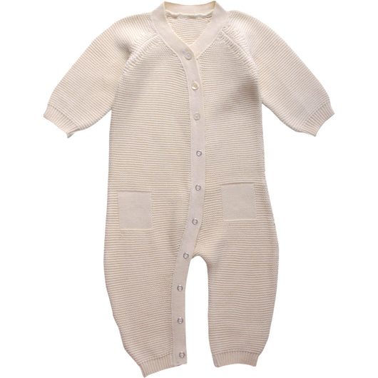 Knitted jumpsuit for baby in silky organic cotton