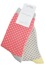 Two pair colourful print socks in soft bamboo pink and stone yellow