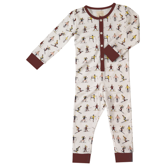 Kids onesie with buttons and skiers in organic cotton