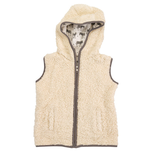 Hooded fleece gilet organic cotton