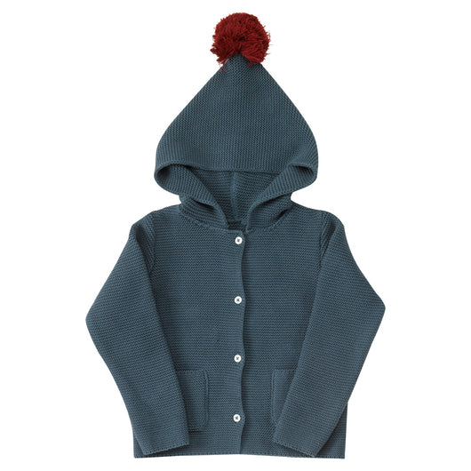 Children's hooded cardigan with buttons organic cotton