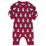 Baby boys organic knit romper with penguin print and coconut buttons