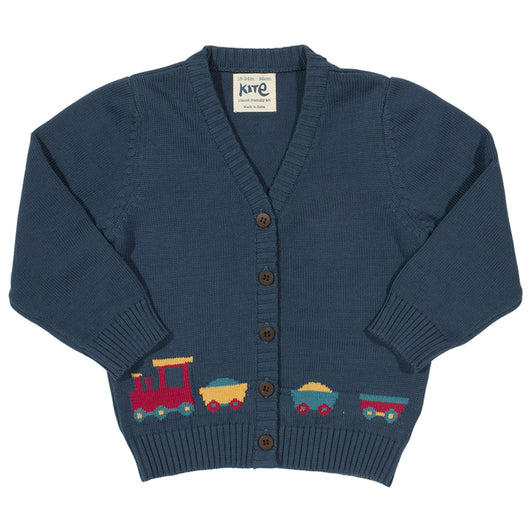 Baby boys knitted organic cotton cardigan with trains