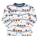 Baby boys top with train print, made with organic cotton