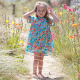 Tropical dress for baby girl in cool organic cotton