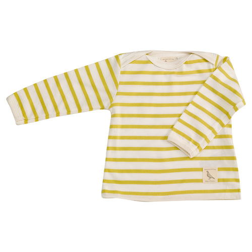 Striped envelope neck shirt for baby in organic cotton