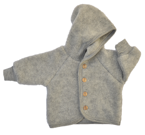 Virgin organic wool fleece for baby in grey