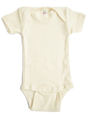 Short sleeved baby-body in organic cotton