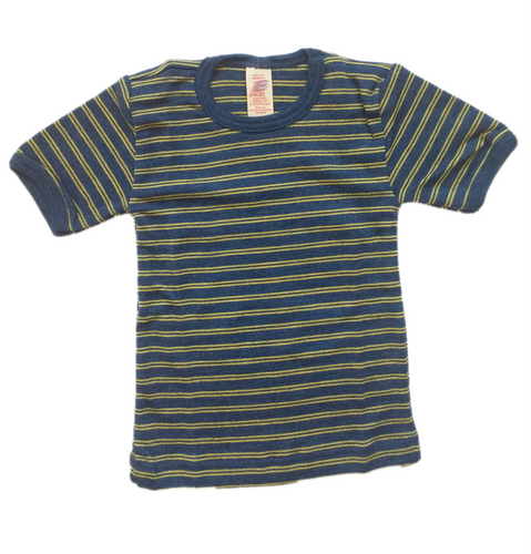 Childrens Striped Organic Merino wool tshirt unisex
