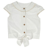 Girl's white blouse with tie front in organic cotton
