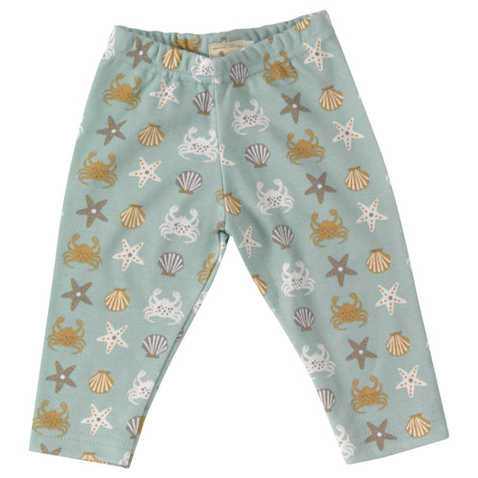 Baby leggings with seaside print in organic cotton