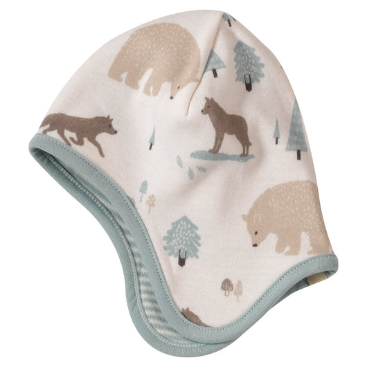 Reversible baby bonnet in wolf print organic cotton