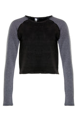Womens sweater with open edges. Made with recycled polyester and organic cotton