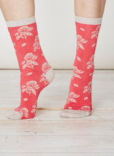 Red floral socks in soft bamboo
