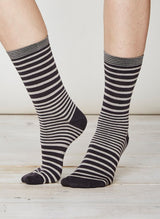 Black striped socks in soft bamboo