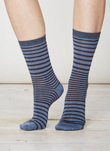 Blue striped bamboo socks