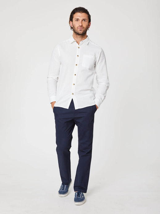 mens white hemp shirt