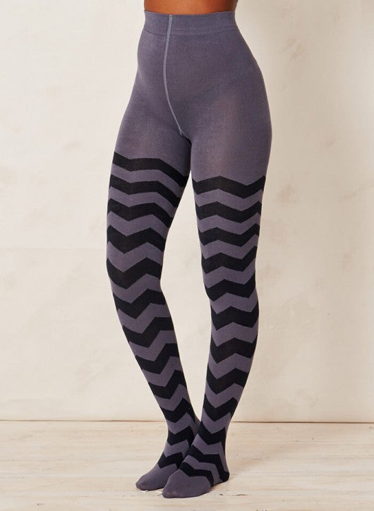 Zigzag printed tights in bamboo