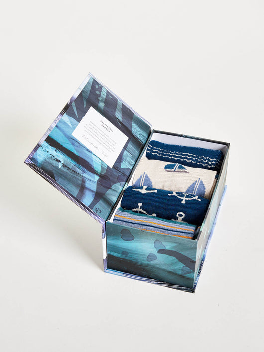 Mens maritime bamboo socks gift box
