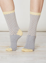 Stone and yellow coloured socks in soft bamboo