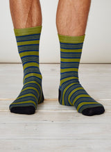 Striped bamboo socks for men, green