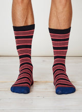Red and blue striped bamboo socks for men