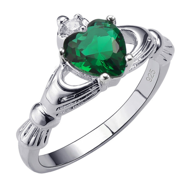 May Birthstone Emerald Ring (925 Sterling Silver)