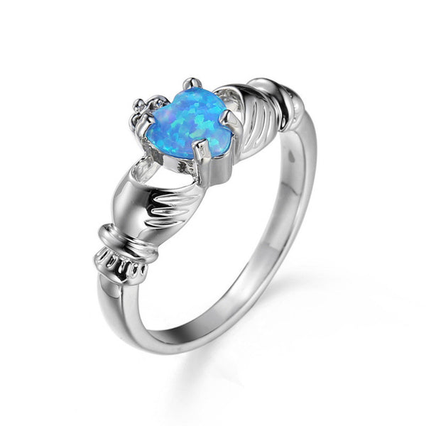 October Birthstone Heart Fire Opal Ring
