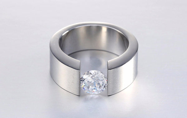 Bague Stainless Steel Zircon Ring