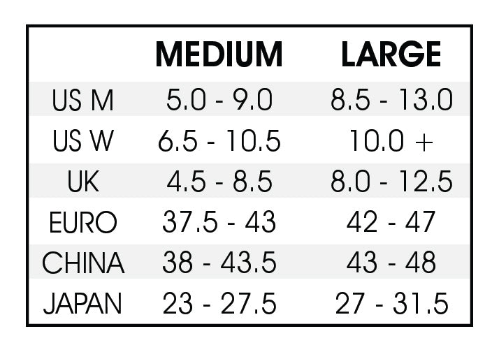 Snowboard Bindings - Sizing Chart